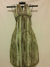 """Green/Brown Abstract """"Georgiou"""" Halter Clubwear, Knee length,  XS Poly/Spandex"""