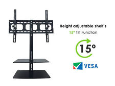 """TV Wall Mount Bracket 32"""" 65"""" with 2 Glass Floating Shelves Curved, 4k LED TV's"""