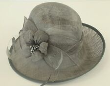 New Woman Church Derby Wedding Sinamay Ascot Dress Hat  DR-04 Gray
