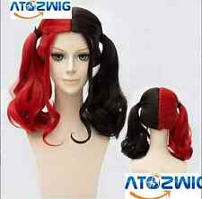 Women Wig Curly Long Wig Half Red and Half Black Hair Wigs for Cosplay Party Wig