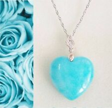 Sterling silver Love Heart(30mm) Natural Amazonite pendant necklace gift for her