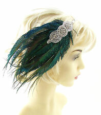 1920s Green Silver Headband Peacock Feather Headpiece Flapper Great Gatsby 803