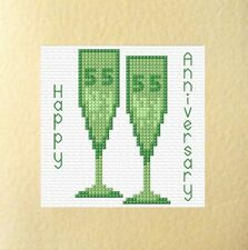 "55th Emerald Glasses Wedding Anniversary Card Cross Stitch Kit 5.5""x5.5 14 Count"