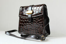 Vintage Clarks brown patent mock croc crocodile cross body shoulder bag handbag