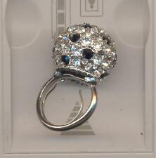 KENNETH LANE BLACK AND CLEAR CRYSTAL DISCO BALL RING