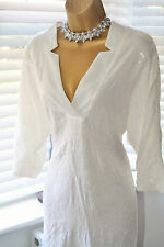 Beautiful Zara Ivory Sequinned Loose Fit Dress Top Kaftan Size S UK 10