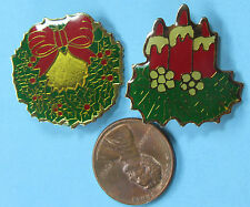 """CHRISTMAS PIN PAIR vintage WREATH Holly Berries Lit CANDLES Greenery Holiday 1"""""""