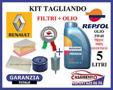 KIT TAGLIANDO FILTRI + OLIO REPSOL 5W40 5LT RENAULT CLIO II 1.6 16v 81KW