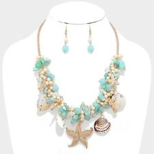 Teal Blue Gold & Natural Starfish & Seashell Pearl Charm Beaded Necklace Set