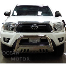 """2005-2015 TOYOTA TACOMA Stainless Steel 3"""" BULL BAR GRILLE GUARD With Skid Plate"""
