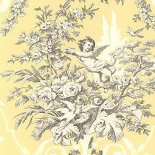 Cherub and Floral on Yellow Victorian Wallpaper CH22539 FREE SHIPPING