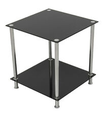 Black Glass Square Side Table High Gloss Coffee Or Lamp Table