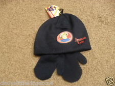 BNWT Fireman Sam blue winter hat and mittens set Age 2-4 years