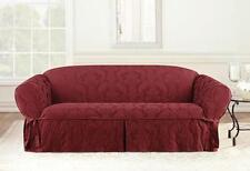 Loveseat Chili red Matelasse Damask One Piece Slipcover slip cover sure fit