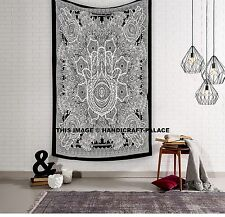 Tapestry Hamsa Hand Throw Indian Hippie Tapestry Wall Hanging, Urban Sketched by