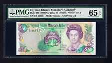 Cayman Islands $50 Dollars 2003, P. 32b  PMG 65 EPQ  GEM UNC Low Serial # QEII