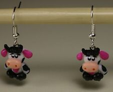 Cow Pink, Purple Earrings, Milk Earrings,  Girls, Women Earrings, Handcrafted