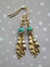 Vintage Style Oak Leaf & Turquoise Acorn Drop Dangle Earrings - Brass Gold Boho