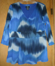Alison Morgan Plus Size Blue Gray Sheer Polyester Blouse 1X - preowned