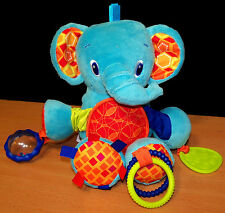 Bright Starts Plush Blue Elephant Baby Rattle Toy - VGC