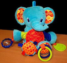 Bright Starts Plush Blue Elephant Baby Rattle Toy - VGC
