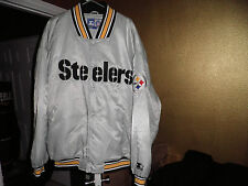 Rare Pittsburgh Steelers Throwback Satin Starter Jacket 5xl Silver xl! xxxxxl