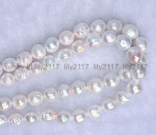 New BAROQUE LUSTER AAA 11-12 MM NATURAL SOUTH SEA WHITE PEARL NECKLACE 36''14K