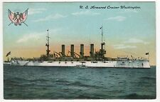 USS WASHINGTON PC Postcard CRUISER ACR-11 US Navy NAVAL USN Military WAR Ship