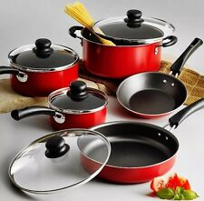 Tramontina Nonstick Cookware Set 9 Piece Essential Kitchen Pots And Pans Red