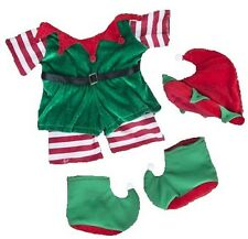 """XMAS CHRISTMAS ELF GREEN & RED WITH HAT & SHOES FITS 14-16"""" (40CM)  BUILD A BEAR"""