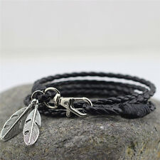 Fashion New Bangles Men Jewelry Accessories PU Leather Feather Charm Bracelets