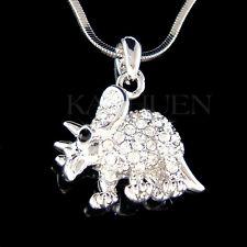 w Swarovski Crystal ~Triceratops Dinosaur~ Girls Boys Necklace Jewelry Xmas Gift