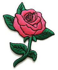 Pink Rose Flower Iron On Sew Tattoo Embroidered Bag Jeans Dress Badge Patch