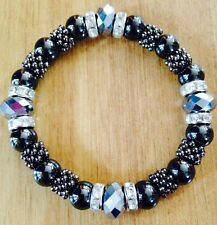 Magnetic Hematite Therapy bracelet with Silver Glass Beads Size 7-7.5