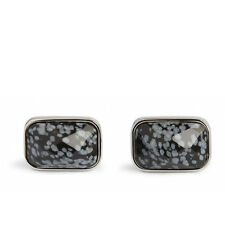 Simon Carter Snowflake Obsidian Faceted Rectangular Cufflinks