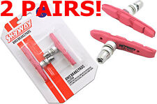 2 PAIRS SKYWAY TUFF BMX BRAKE PADS MAG OR ALLOY WHEEL BLOCKS PINK BRSP