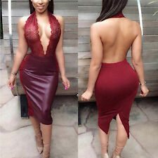 Abito cono aperto ecopelle pizzo ricamato nudo faux leather Lace Bodycon dress L