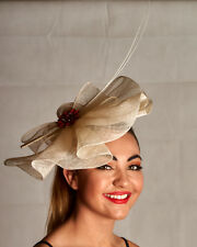 Stunning Ivory Fascinator - Diamantes /Pink Roses/ Quills - Quality & Style