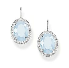 Genuine Thomas Sabo Silver Oval Blue Aquamarine & CZ Drop Earrings H1844 £235.00