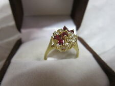 GORGEOUS ESTATE 14 KT GOLD RUBY AND DIAMOND RING  !!!!!!!!