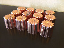 SET 12PCS FRENCH CANNELE COPPER MOLD MOULD TIN LINED