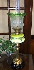 ANTIQUE GREEN GLASS VICTORIAN OIL LAMP DUPLEX BURNER & ETCHED SHADE-ELECTRIFIED