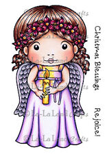 New La La Land Crafts CHRISTMAS ANGEL MARCI Cling Rubber Stamp Girl Candle Wings