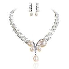 Women Bride's Faux Pearl Choker Necklace Earrings Jewelry Set For Wedding Ornate