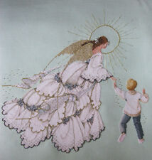 Completed Finished cross stitch ANGEL OF MERCY WITH A BOY  BY LAVENDER AND LACE.