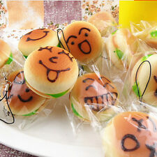 Jumbo Squishy Expression Hamburger Phone Straps Soft Face Bread Bun Charms FT