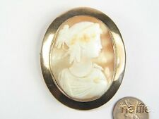 ANTIQUE 9K ROSE GOLD FINELY CARVED SHELL CAMEO BROOCH c1850 HERA / JUNO