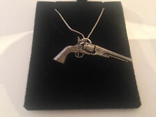 """G17 Antique Revolver on a 925 sterling silver Necklace Handmade 18"""" chain"""