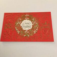 Vintage Greeting Card Christmas Red Wreath Gold Hallmark