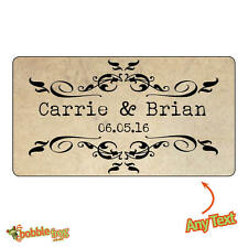 65 x Personalised Mini Wedding Bride Shabby Vintage Rustic Favour Stickers- 826